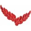 Motif Sequin/beads 26x8cm Leaf Shape Red